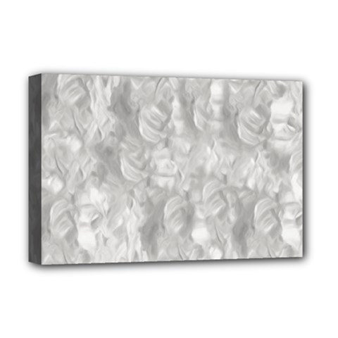 Abstract In Silver Deluxe Canvas 18  X 12  (framed)