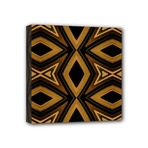 Tribal Diamonds Pattern Brown Colors Abstract Design Mini Canvas 4  X 4  (framed)