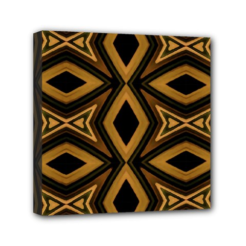 Tribal Diamonds Pattern Brown Colors Abstract Design Mini Canvas 6  X 6  (framed)