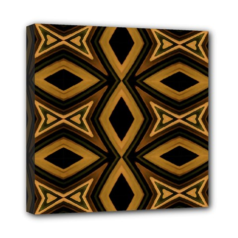 Tribal Diamonds Pattern Brown Colors Abstract Design Mini Canvas 8  x 8  (Framed)