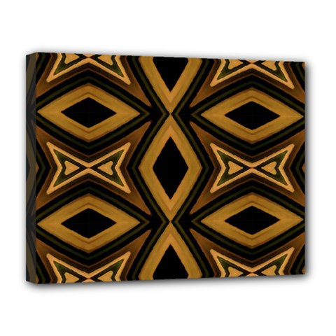 Tribal Diamonds Pattern Brown Colors Abstract Design Canvas 14  X 11  (framed)