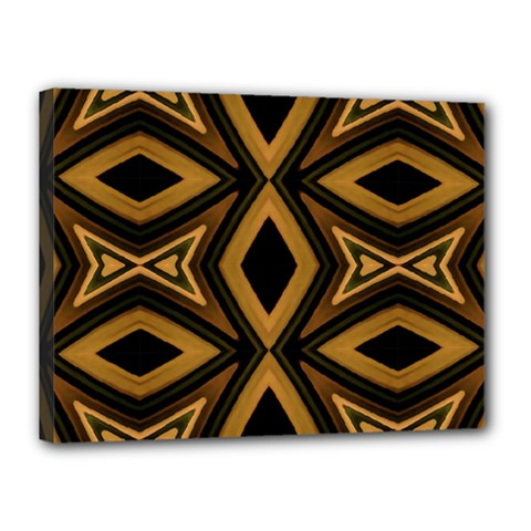 Tribal Diamonds Pattern Brown Colors Abstract Design Canvas 16  x 12  (Framed)