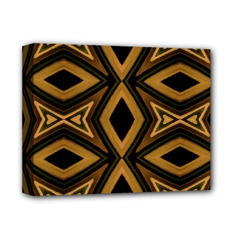 Tribal Diamonds Pattern Brown Colors Abstract Design Deluxe Canvas 14  X 11  (framed)