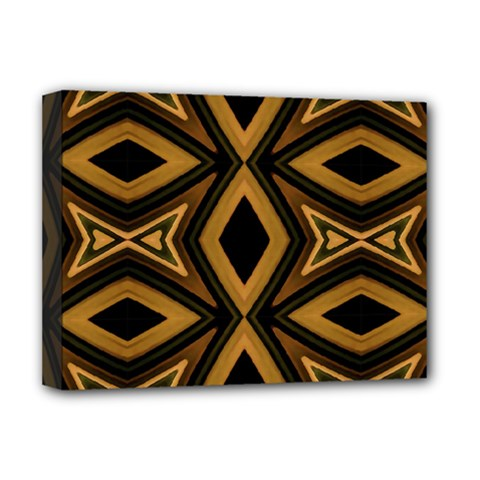 Tribal Diamonds Pattern Brown Colors Abstract Design Deluxe Canvas 16  x 12  (Framed)