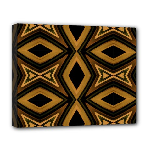 Tribal Diamonds Pattern Brown Colors Abstract Design Deluxe Canvas 20  x 16  (Framed)