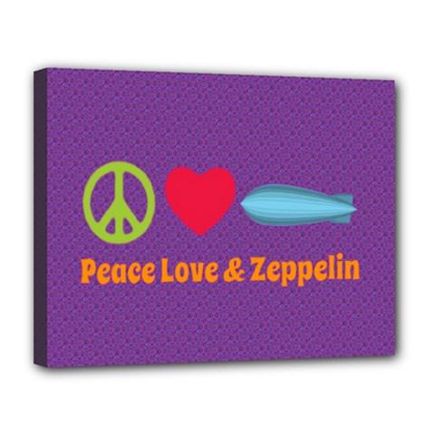 Peace Love & Zeppelin Canvas 14  x 11  (Framed)