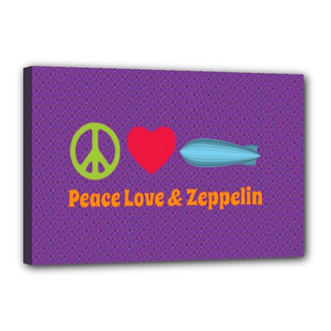 Peace Love & Zeppelin Canvas 18  X 12  (framed)