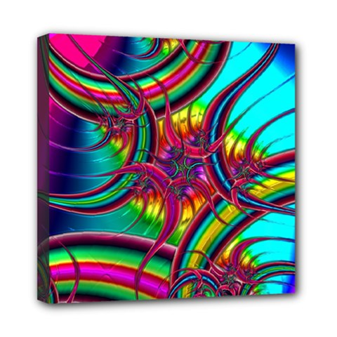 Abstract Neon Fractal Rainbows Mini Canvas 8  X 8  (framed)