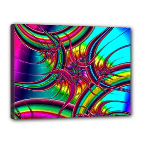 Abstract Neon Fractal Rainbows Canvas 16  X 12  (framed)