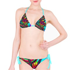 Abstract Neon Fractal Rainbows Bikini