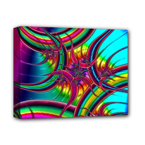 Abstract Neon Fractal Rainbows Deluxe Canvas 14  x 11  (Framed)