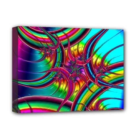 Abstract Neon Fractal Rainbows Deluxe Canvas 16  x 12  (Framed)