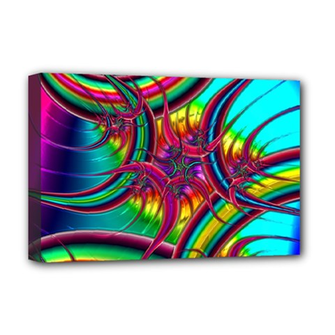 Abstract Neon Fractal Rainbows Deluxe Canvas 18  x 12  (Framed)