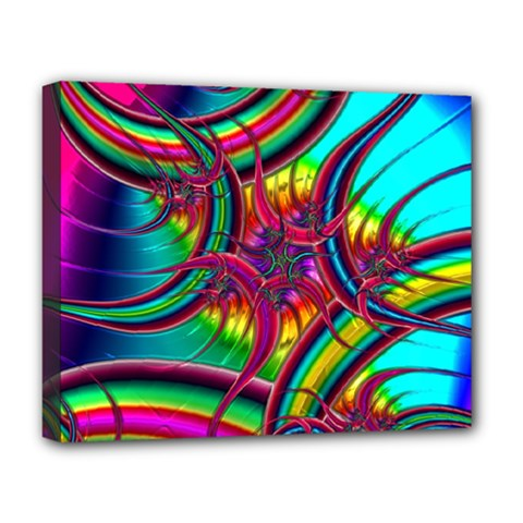 Abstract Neon Fractal Rainbows Deluxe Canvas 20  x 16  (Framed)