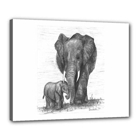 Elephant Canvas 20  X 16  (framed)