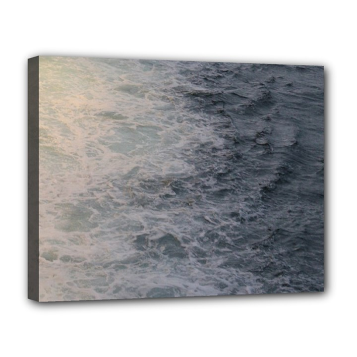 Wake Patterns in the Sea Canvas 14  x 11  (Framed)