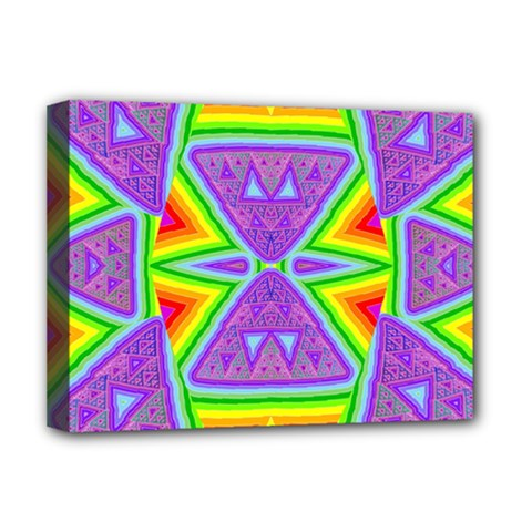 Trippy Rainbow Triangles Deluxe Canvas 16  x 12  (Framed)