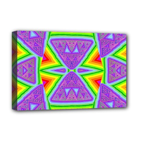 Trippy Rainbow Triangles Deluxe Canvas 18  X 12  (framed)