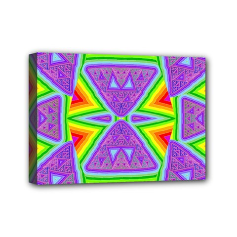Trippy Rainbow Triangles Mini Canvas 7  X 5  (framed)