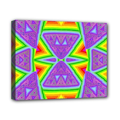 Trippy Rainbow Triangles Canvas 10  x 8  (Framed)