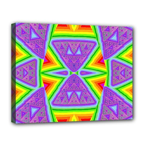 Trippy Rainbow Triangles Canvas 14  X 11  (framed)