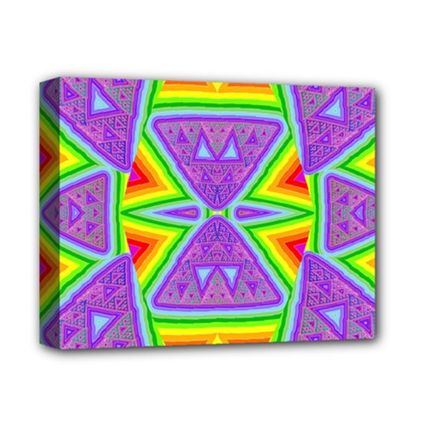 Trippy Rainbow Triangles Deluxe Canvas 14  x 11  (Framed)