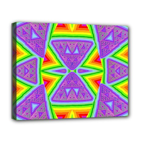 Trippy Rainbow Triangles Deluxe Canvas 20  x 16  (Framed)