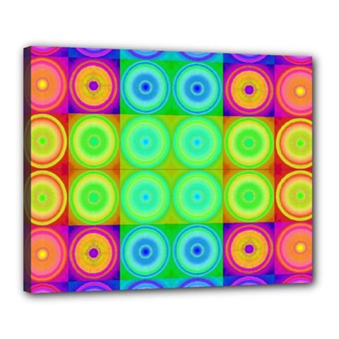 Rainbow Circles Canvas 20  x 16  (Framed)