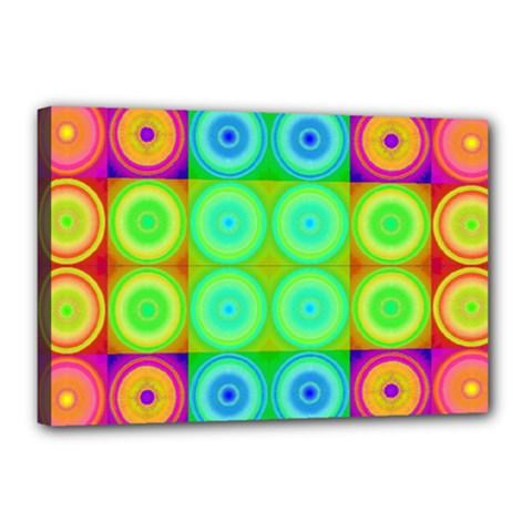 Rainbow Circles Canvas 18  X 12  (framed)