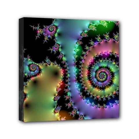 Satin Rainbow, Spiral Curves Through the Cosmos Mini Canvas 6  x 6  (Framed)