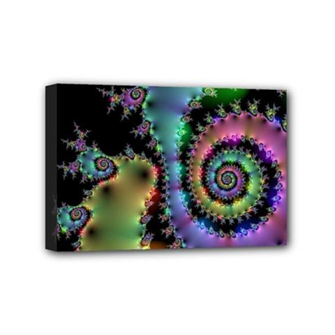 Satin Rainbow, Spiral Curves Through The Cosmos Mini Canvas 6  X 4  (framed)