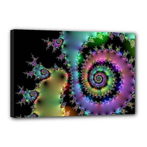 Satin Rainbow, Spiral Curves Through The Cosmos Canvas 18  X 12  (framed)