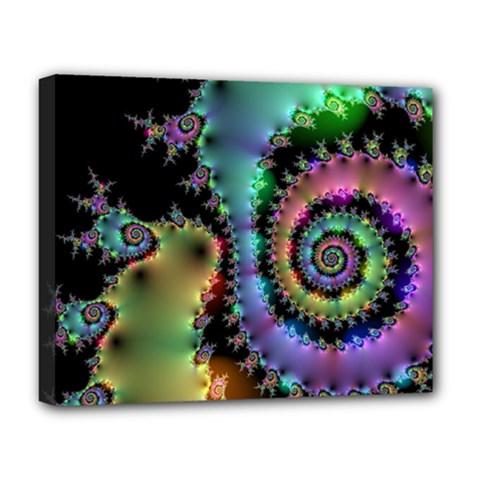 Satin Rainbow, Spiral Curves Through The Cosmos Deluxe Canvas 20  X 16  (framed)