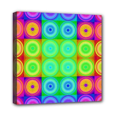 Rainbow Circles Mini Canvas 8  x 8  (Framed)