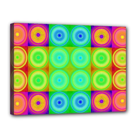 Rainbow Circles Canvas 16  X 12  (framed)