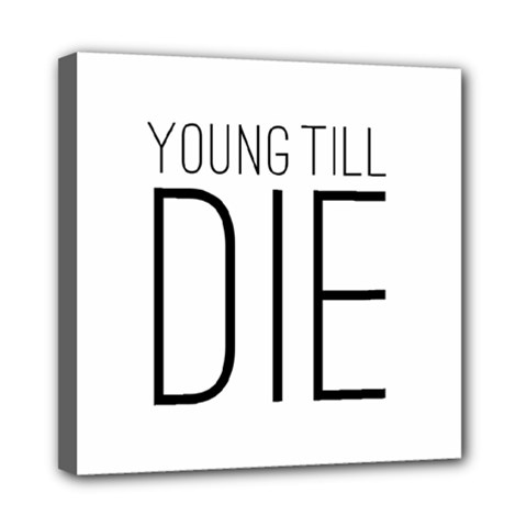 Young Till Die Typographic Statement Design Mini Canvas 8  X 8  (framed)