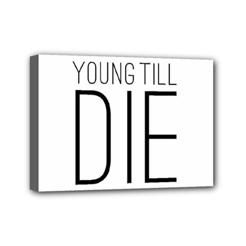 Young Till Die Typographic Statement Design Mini Canvas 7  x 5  (Framed)