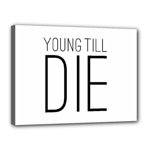 Young Till Die Typographic Statement Design Canvas 16  x 12  (Framed)