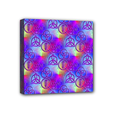 Rainbow Led Zeppelin Symbols Mini Canvas 4  X 4  (stretched)