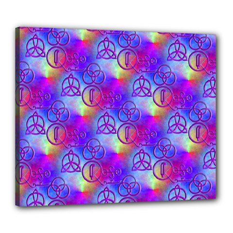 Rainbow Led Zeppelin Symbols Canvas 24  X 20  (stretched)