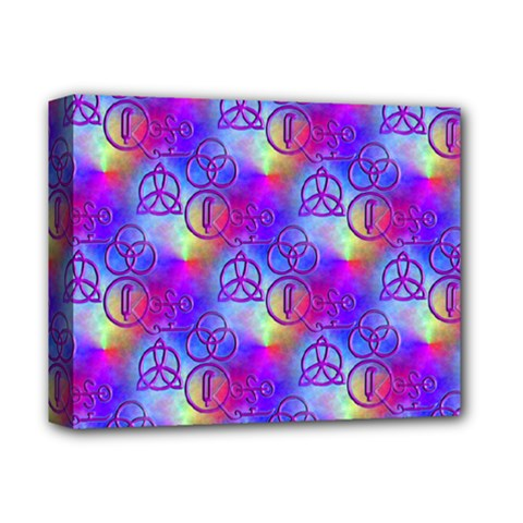 Rainbow Led Zeppelin Symbols Deluxe Canvas 14  x 11  (Stretched)