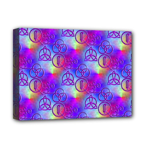 Rainbow Led Zeppelin Symbols Deluxe Canvas 16  X 12  (stretched)