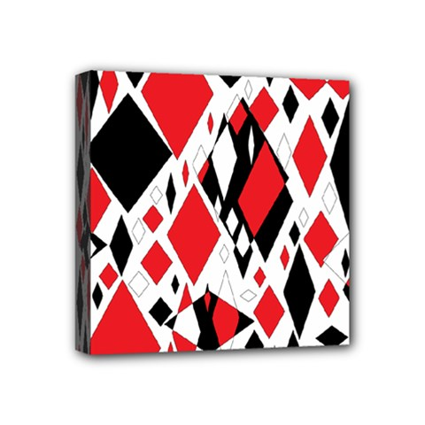 Distorted Diamonds In Black & Red Mini Canvas 4  X 4  (framed)