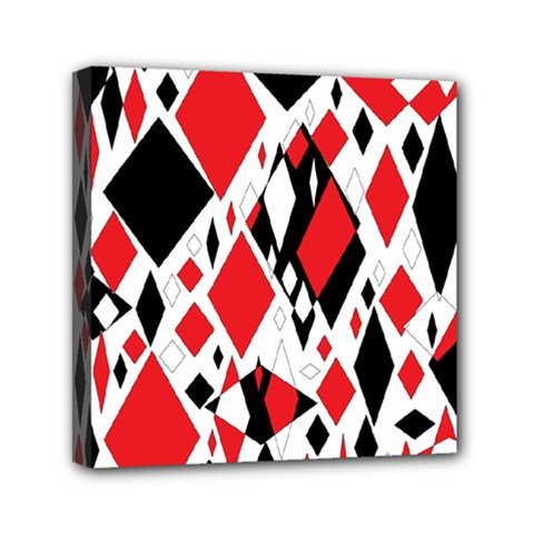 Distorted Diamonds In Black & Red Mini Canvas 6  X 6  (framed)