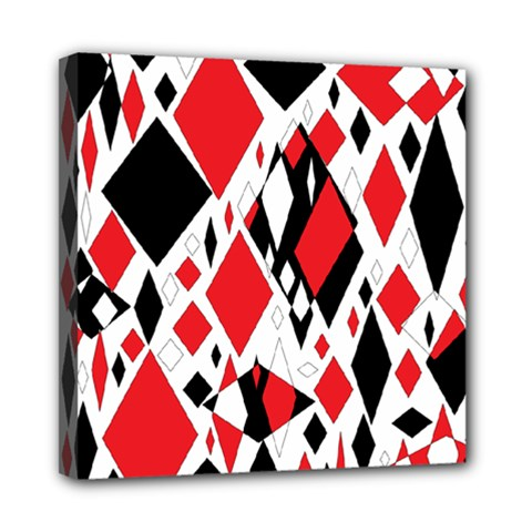 Distorted Diamonds In Black & Red Mini Canvas 8  X 8  (framed)