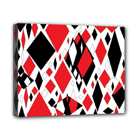 Distorted Diamonds In Black & Red Canvas 10  x 8  (Framed)