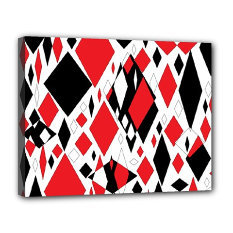 Distorted Diamonds In Black & Red Canvas 14  X 11  (framed)