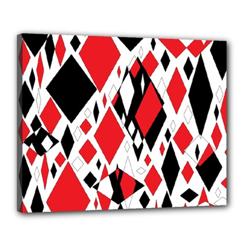 Distorted Diamonds In Black & Red Canvas 20  X 16  (framed)