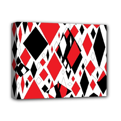 Distorted Diamonds In Black & Red Deluxe Canvas 14  X 11  (framed)
