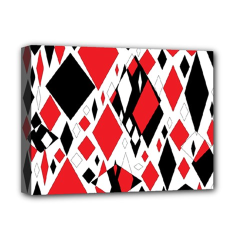 Distorted Diamonds In Black & Red Deluxe Canvas 16  X 12  (framed)